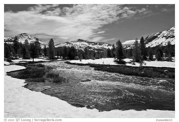 Creek flowing in snow-covered high country landscape. Yosemite National Park (black and white)