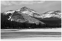 Lambert Dome surrounded by snowy peaks and meadows. Yosemite National Park ( black and white)