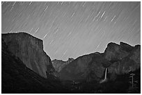 Yosemite Valley by night with star trails. Yosemite National Park, California, USA. (black and white)