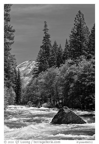 High waters and rapids in Merced River. Yosemite National Park (black and white)