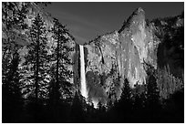 Bridalveil Fall and leaning tower, late afternoon. Yosemite National Park ( black and white)
