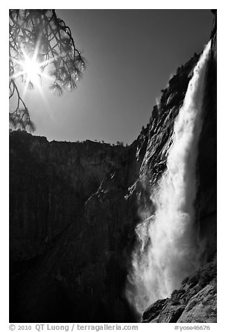 Upper Yosemite Fall and Sun. Yosemite National Park (black and white)