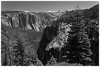 View of Valley and Silver Strand Falls from Pohono Trail. Yosemite National Park, California, USA. (black and white)