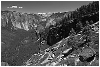 View of Yosemite Valley from Stanford Point. Yosemite National Park ( black and white)