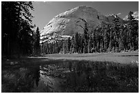 Half-Dome from Hidden Lake. Yosemite National Park, California, USA. (black and white)