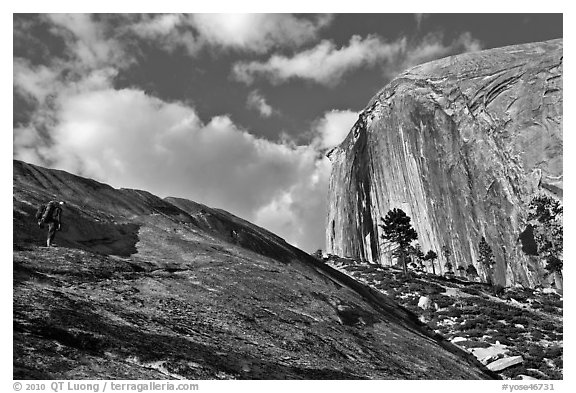 Hiker approaching Diving Board. Yosemite National Park (black and white)
