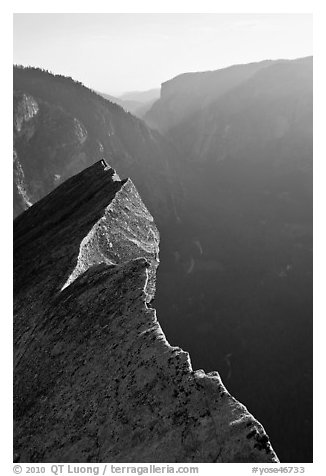 Diving Board and Yosemite Valley, late afternoon. Yosemite National Park (black and white)