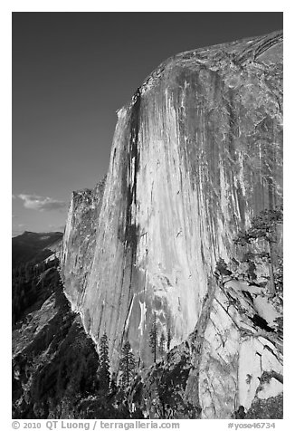 Face of Half-Dome seen from the Diving Board. Yosemite National Park (black and white)