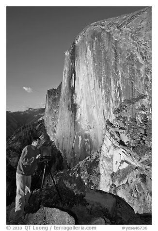 Photographer on Diving Board and Half-Dome. Yosemite National Park (black and white)