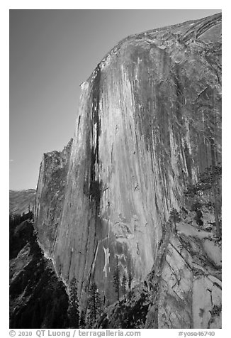 Last light on North-West face of Half-Dome. Yosemite National Park (black and white)