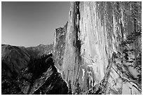 Hiker looking out from Diving Board. Yosemite National Park ( black and white)