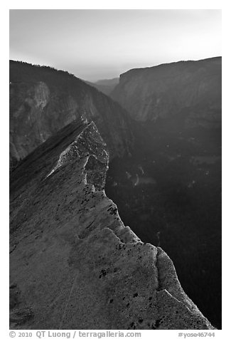 Diving Board and Yosemite Valley at sunset. Yosemite National Park (black and white)