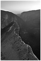 Diving Board and Yosemite Valley at sunset. Yosemite National Park ( black and white)