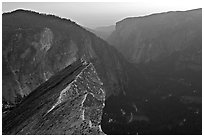 Diving Board, Glacier Point, and Yosemite Valley, sunset. Yosemite National Park ( black and white)