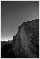 Face of Half-Dome by night. Yosemite National Park, California, USA. (black and white)