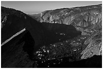 Lights of Yosemite by full moon night. Yosemite National Park ( black and white)
