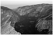 Yosemite Valley seen from Diving Board, dawn. Yosemite National Park ( black and white)