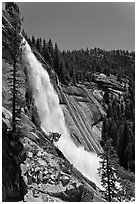 Nevada Falls and cliff. Yosemite National Park, California, USA. (black and white)