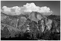 Half-Dome and cloud. Yosemite National Park ( black and white)