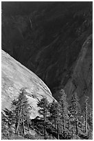 North Dome with Illouette Fall in distance. Yosemite National Park ( black and white)