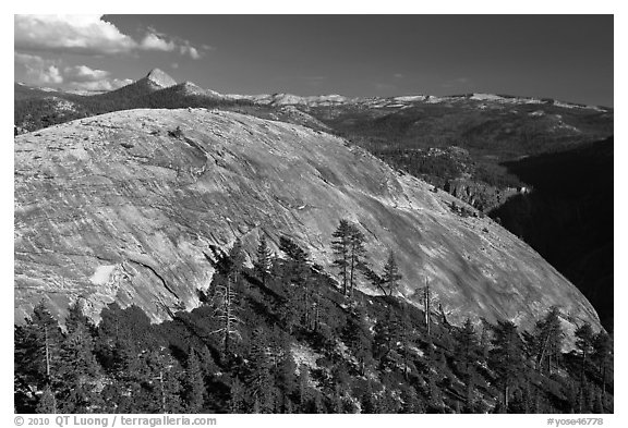 North Dome and Clark Range. Yosemite National Park (black and white)