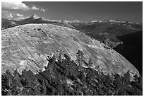 North Dome and Clark Range. Yosemite National Park ( black and white)