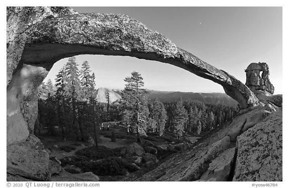 Half-Dome seen through Indian Arch. Yosemite National Park (black and white)