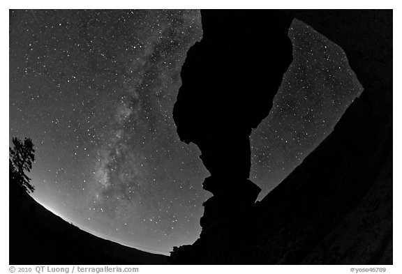 Indian Arch and Milky Way. Yosemite National Park (black and white)