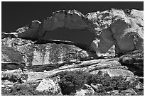 Rare granite arch, Indian Rock. Yosemite National Park ( black and white)