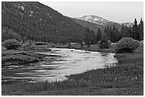 Tuolumne River in Lyell Canyon, sunset. Yosemite National Park ( black and white)