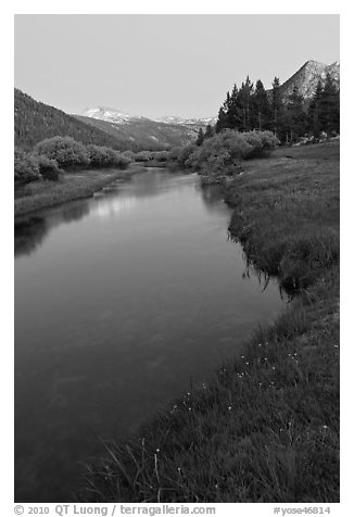 Tuolumne River in Lyell Canyon, dusk. Yosemite National Park (black and white)