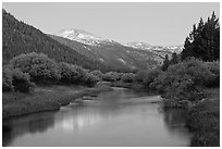 Snowy peak and Tuolumne River, Lyell Canyon, dusk. Yosemite National Park ( black and white)