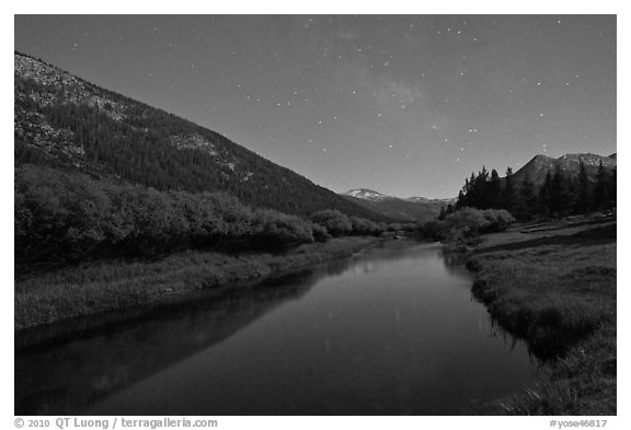 Stars above Lyell Canyon and Tuolumne River. Yosemite National Park (black and white)
