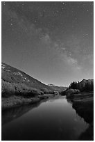 Milky Way above Lyell Canyon and Tuolumne River. Yosemite National Park, California, USA. (black and white)