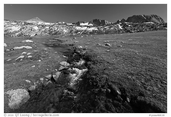 Meadow, stream, and Evelyn Lake. Yosemite National Park (black and white)
