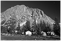 Tents of Sierra High camp, Vogelsang. Yosemite National Park, California, USA. (black and white)