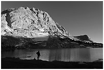 Park visitor looking, Fletcher Lake. Yosemite National Park ( black and white)