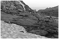 Neve at the base of Vogelsang peak at sunset. Yosemite National Park, California, USA. (black and white)