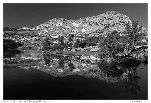 Vogelsang Peak reflected in Vogelsang Lake, morning. Yosemite National Park (black and white)