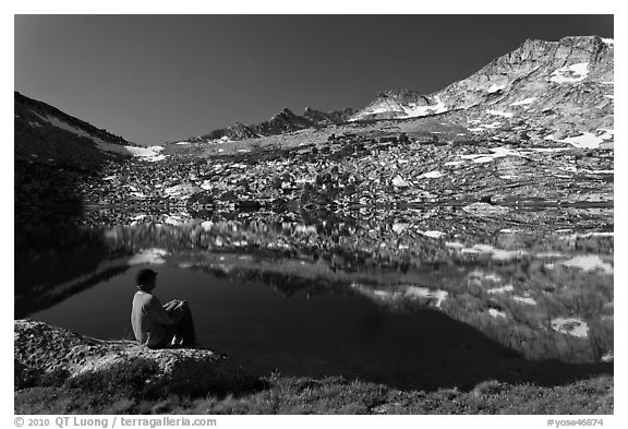 Park visitor looking, Vogelsang Lake and Peak. Yosemite National Park (black and white)