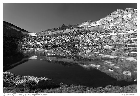 Alpine lake and peak, Vogelsang. Yosemite National Park (black and white)