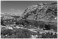High Sierra landscape with Fletcher Peak and Vogelsang Lake. Yosemite National Park ( black and white)