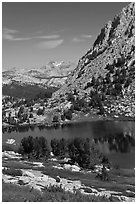 Vogelsang Lake and distant Choo-choo ridge. Yosemite National Park ( black and white)
