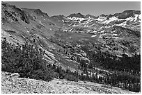 High Sierra view from Vogelsang Pass above Lewis Creek with Parson Peak and Gallison Lake. Yosemite National Park ( black and white)