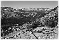 High Sierra view from Vogelsang Pass above Lewis Creek with Clark Range. Yosemite National Park ( black and white)