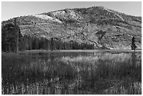 Peak reflected in Merced Lake, sunset. Yosemite National Park, California, USA. (black and white)