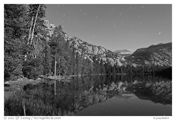 Merced Lake by moonlight. Yosemite National Park (black and white)