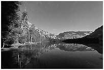 Merced Lake, tall trees, and stars. Yosemite National Park, California, USA. (black and white)