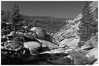 Merced River flowing over granite. Yosemite National Park ( black and white)