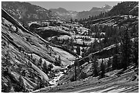 Upper Merced River Canyon view, morning. Yosemite National Park, California, USA. (black and white)